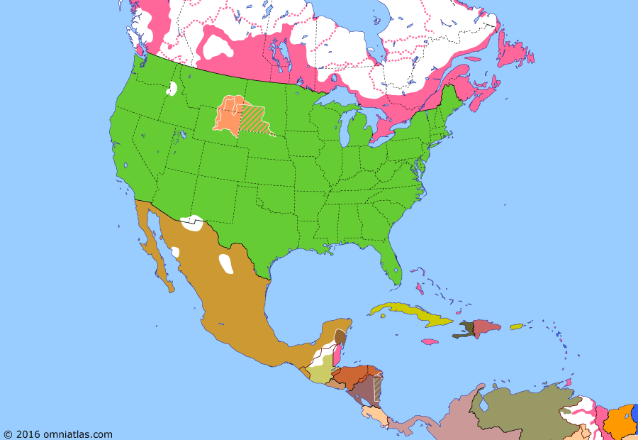 Political map of North America & the Caribbean on 25 Jun 1876 (Closing the Frontier: Great Sioux War), showing the following events: British Columbia joins Canada; Modoc War; San Juan Islands award; Prince Edward I. joins Canada; Red River War; Mounties march west; Great Sioux War; Battle of Little Bighorn; Keewatin Act.