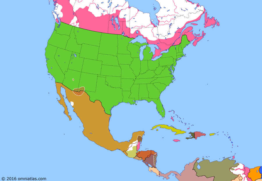 Political map of North America & the Caribbean on 16 Jul 1882 (Closing the Frontier: Apache Wars), showing the following events: Colorado becomes US state; Eisenstuck Affair; Sioux and Cheyenne surrender; Nez Perce War; St Barthelemy to France; Victorio's War; White River War; Geronimo flees to Mexico; Apache raid central Arizona.