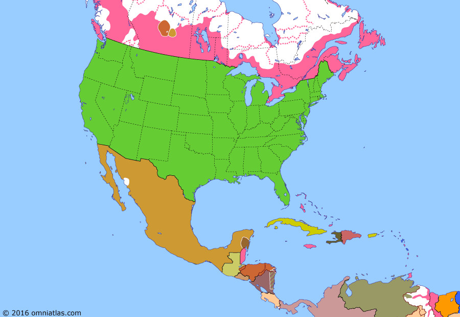Political map of North America & the Caribbean on 12 Apr 1885 (Closing the Frontier: North-West Rebellion), showing the following events: Treaty of Mexico City; Geronimo hunted down; Riel's rebellion begins; Cree loot Battleford; North-West Rebellion crushed.