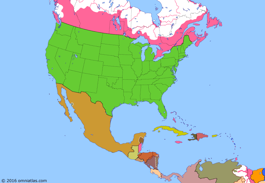 Political map of North America & the Caribbean on 29 Dec 1890 (Closing the Frontier: Wounded Knee Massacre), showing the following events: Panama Crisis; Geronimo's final surrender; Anglo-Venezuelan rupture; Canada (Ontario Boundary) Act; North & South Dakota become US states; Montana becomes US state; Washington becomes US state; Oklahoma Organic Act; Idaho becomes US state; Wyoming becomes US state; Wounded Knee Massacre.