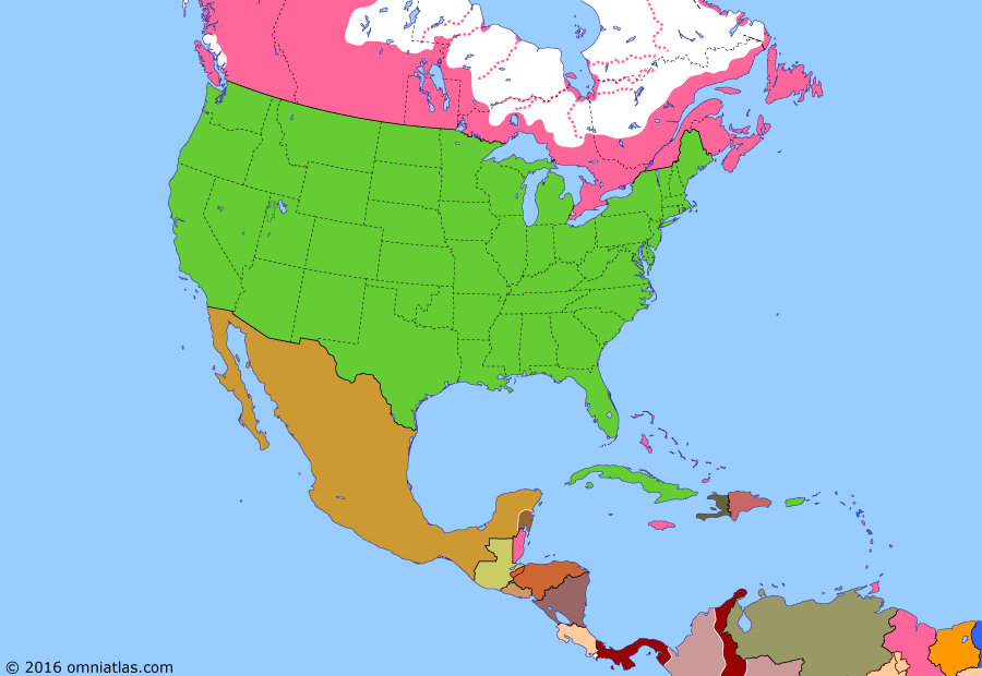 Political map of North America & the Caribbean on 23 May 1900 (American Empire: Thousand Days' War), showing the following events: Washington Peace Protocol; Annexation of Hawaii; Treaty of Paris; Essequibo Arbitration; Thousand Days' War.