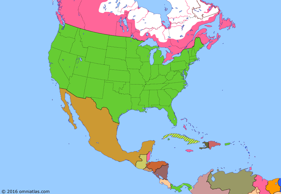 Political map of North America & the Caribbean on 04 May 1904 (American Empire: Panamian Rebellion), showing the following events: Caste War of Yucatán ends; Hay-Pauncefote Treaty; Cuba independent; Second Venezuela Crisis; Platt Amendment; Hay-Herbert Treaty; Panamanian Rebellion; Hay-Bunau-Varilla Treaty.