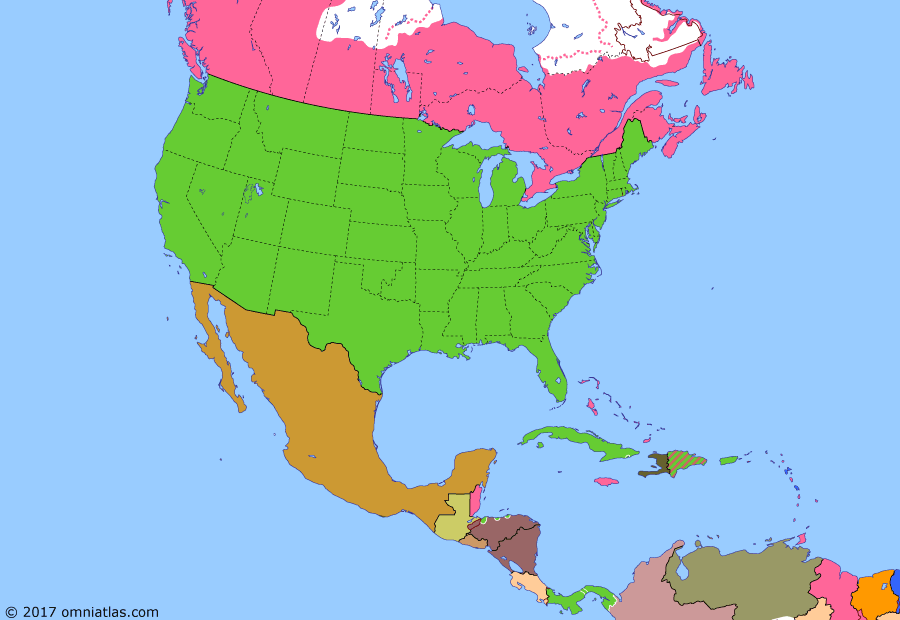 Political map of North America & the Caribbean on 14 Apr 1907 (American Empire: Nicaragua-Honduras War), showing the following events: US protectorate over Dominican Republic; Battle of Tsushima; Provinces of Alberta and Saskatchewan; Keewatin joins NW Territories; Mexican Clipperton colony; Second Occupation of Cuba; Nicaragua-Honduras War.