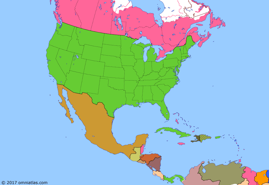 Political map of North America & the Caribbean on 16 Dec 1907 (American Empire: Great White Fleet), showing the following events: Dominion of Newfoundland; Central American Peace Conference; Oklahoma made US state; Great White Fleet.