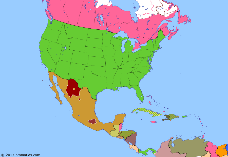 Political map of North America & the Caribbean on 25 May 1911 (American Empire: Mexican Revolution), showing the following events: Dutch-Venezuela War; US intervention in Nicaragua; Outbreak of Mexican Revolution; Zapata leads revolt in Morelos; US protectorate over Honduras; Díaz resigns in Mexico.