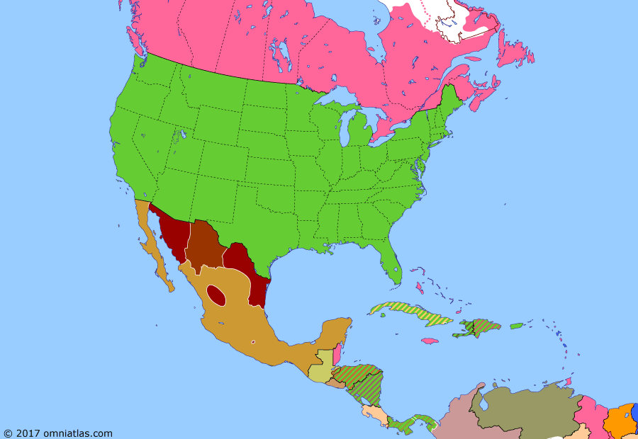 Political map of North America & the Caribbean on 29 Jan 1914 (American Empire: Banana Wars), showing the following events: New Mexico becomes US state; Arizona beomes US state; Expansion of Manitoba, Ontario and Quebec; US occupation of Nicaragua; Ten Tragic Days; Carranza revolts against Huerta; US intervenes in Haiti.