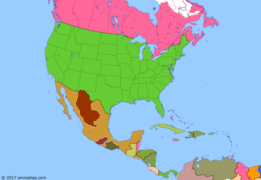Political map of North America & the Caribbean on 20 Aug 1914 (American Empire: Occupation of Veracruz), showing the following events: Tampico Affair; US occupation of Veracruz; Outbreak of World War I; Panama Canal opens; Carranza enters Mexico City.