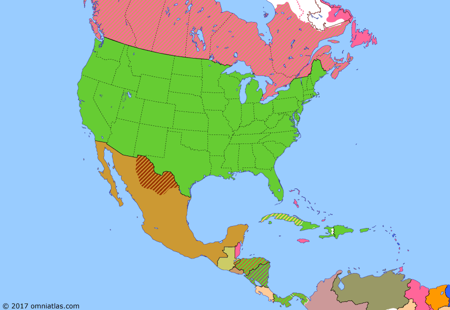Political map of North America & the Caribbean on 28 Jun 1919 (American Empire: Treaty of Versailles), showing the following events: U.S. First Expeditionary Division; Sugar Intervention; October Revolution; Spanish Flu in North America; US troops arrive in Siberia; Armistice of Compiègne; Treaty of Versailles.