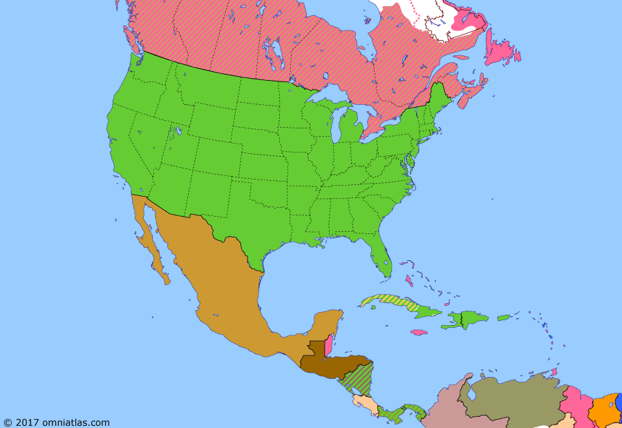 Political map of North America & the Caribbean on 12 Nov 1921 (American Empire: Washington Naval Conference), showing the following events: American Expeditionary Force Siberia; Obregón's revolt; Carranza flees Mexico City; End of Mexican Revolution; Thomson-Urrutia Treaty; Republic of Central America; Washington Naval Conference.