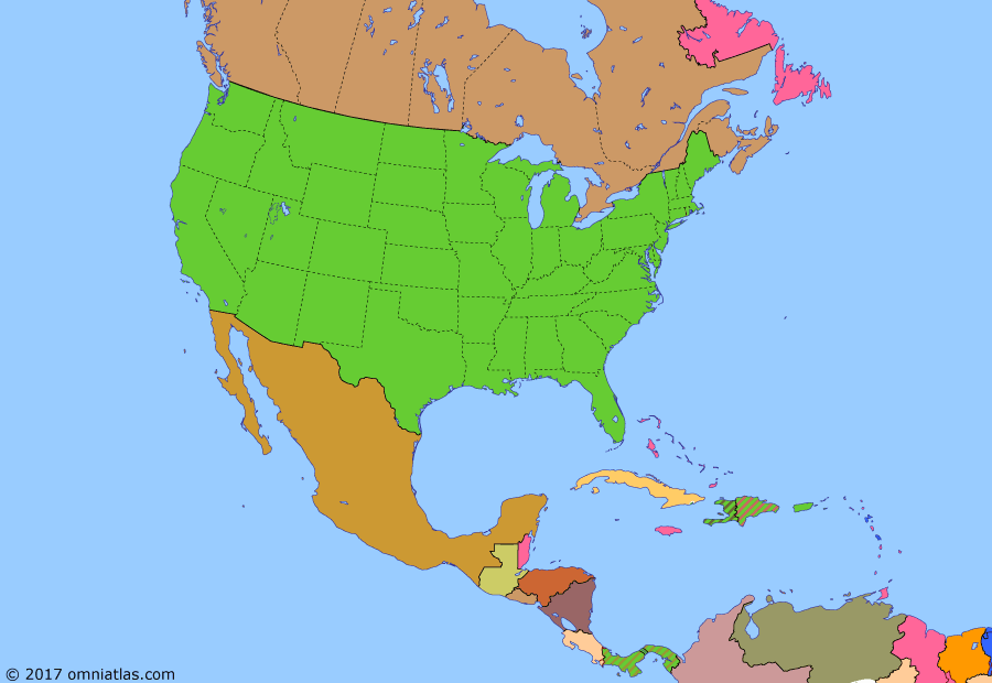 Political map of North America & the Caribbean on 15 Aug 1934 (American Empire: Great Depression), showing the following events: Great Depression in US; Japanese invasion of Manchuria; Statute of Westminster; Bonus March; Chancellor Adolf Hitler; Good Neighbor Policy; Newfoundland Act; Cuban-American Treaty of Relations; US withdraws from Haiti.