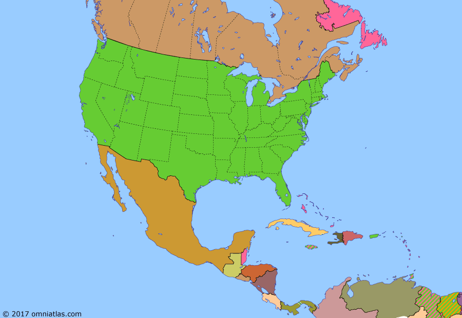 Political map of North America & the Caribbean on 14 Feb 1944 (American Superpower: America in World War II), showing the following events: Central America enters WWII; Germany at war with U.S.; Rallying of St. Pierre and Miquelon; Second Happy Time; Internment of Japanese Americans; West Coast invasion scare; Mexico enters World War II; Battle of Midway; Aleutian Island campaign; Guadalcanal Campaign; Operation Torch; Free French victory in West Indies.
