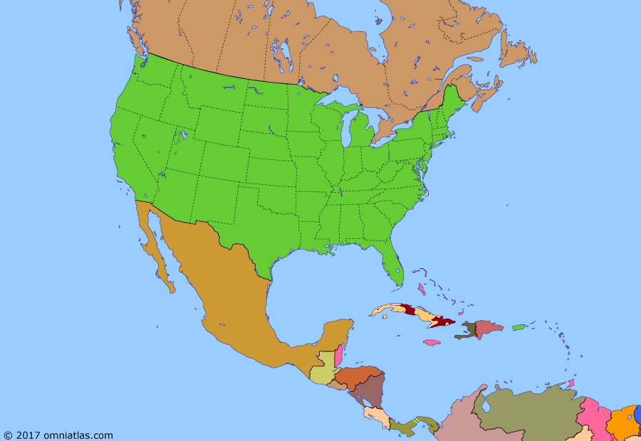 Political map of North America & the Caribbean on 01 Jan 1959 (American Superpower: Cuban Revolution), showing the following events: RDS-1; People's Republic of China; Korean War; Batista seizes power in Cuba; Civil Rights Movement; Castro arrives in Cuba on Granma; Sputnik 1; West Indies Federation; Operation Verano; Overthrow of Batista.