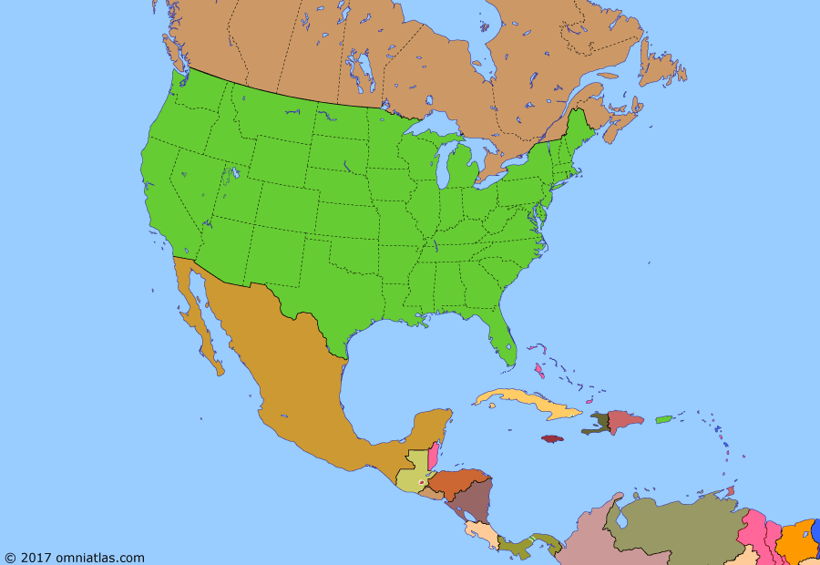 Political map of North America & the Caribbean on 24 Oct 1962 (American Superpower: Cuban Missile Crisis), showing the following events: State of Alaska; Cuban landings in Dominican Rep.; Hawaii becomes US state; US embargo against Cuba begins; 13 November Revolution; Bay of Pigs invasion; Renewal of Esequiba dispute; West Indies Fed. dissolved; Independence of Jamaica; Trinidad & Tobago independent; Cuban Missile Crisis.