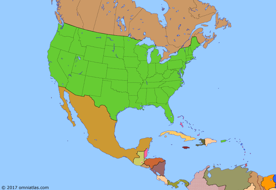 Political map of North America & the Caribbean on 26 May 1966 (American Superpower: Operation Power Pack), showing the following events: Kennedy assassinated; Panama Riots; Gulf of Tonkin incident; Gulf of Tonkin Resolution; Dominican Civil War; Operation Power Pack; Inter-American Peace Force; Guyana independent.