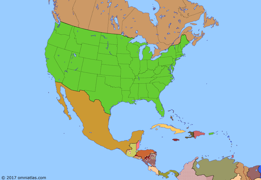 Political map of North America & the Caribbean on 26 Oct 1983 (American Superpower: Central American Crisis), showing the following events: Soviet invasion of Afghanistan; Salvadoran Civil War begins; Independence of Belize; Antigua & Barbuda independent; National Security Directive 17; St Kitts & Nevis independent; Operation Urgent Fury.