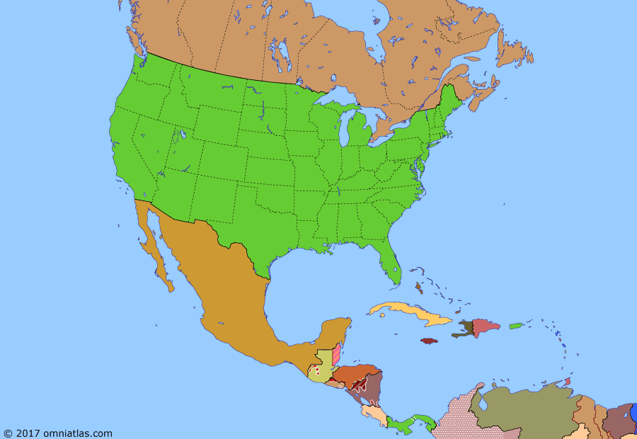Political map of North America & the Caribbean on 22 Dec 1989 (American Superpower: End of the Cold War), showing the following events: SDI program started; Mikhail Gorbachev; Iran-Contra affair; Soviet withdrawal from Afghanistan; Fall of the Berlin Wall; Operation Just Cause.