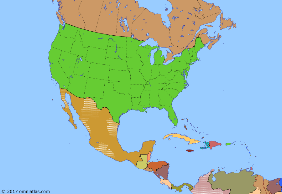Political map of North America & the Caribbean on 26 Nov 2014 (American Superpower: Mexican Drug War), showing the following events: Operation Enduring Freedom; Operation Iraqi Freedom; US occupation of Haiti; Cuba-Venezuela Agreement; Hurricane Katrina; Mexican Drug War; Subprime mortgage crisis; Haiti earthquake.