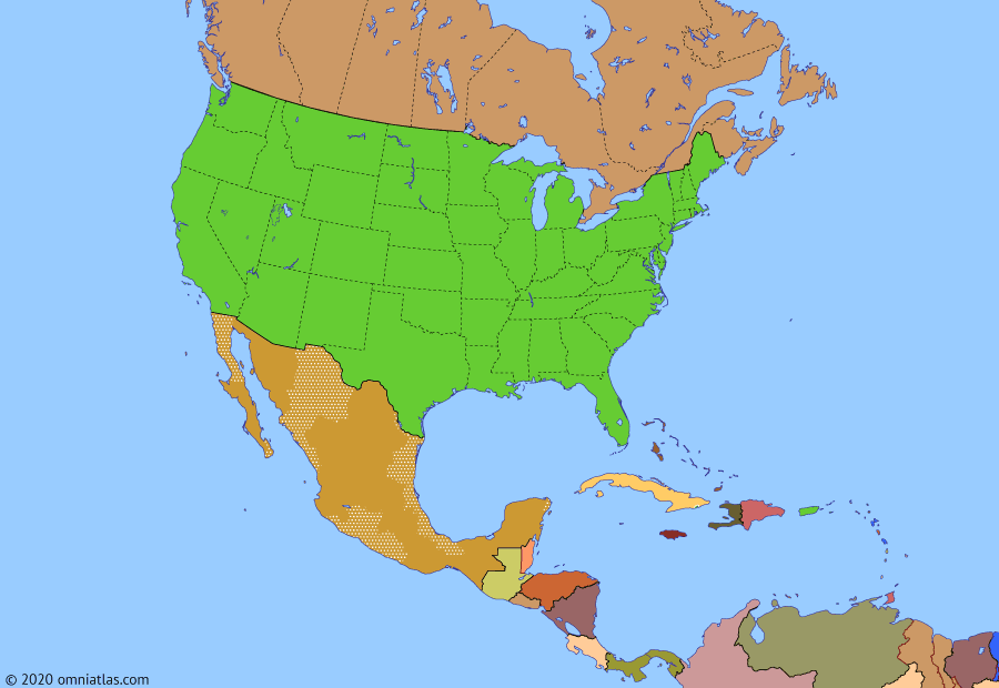 Political map of North America & the Caribbean on 15 Jan 2020 (American Superpower: North America Today), showing the following events: Crisis of Bolivarian Venezuela; Cuban thaw; Trump election; US–Mexico–Canada Agreement; Impeachment of Donald Trump.