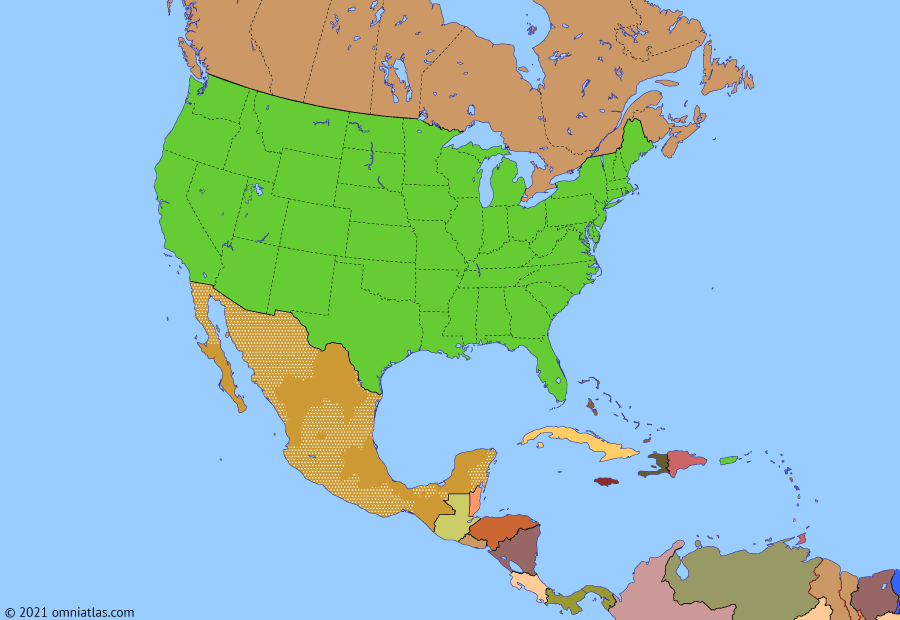 Political map of North America & the Caribbean on 06 Jan 2021 (American Superpower: Storming of the US Capitol), showing the following events: Crisis of Bolivarian Venezuela; Cuban thaw; Election of Donald Trump; USMCA; First impeachment of Donald Trump; COVID-19 in North America; George Floyd protests; Storming of the US Capitol.