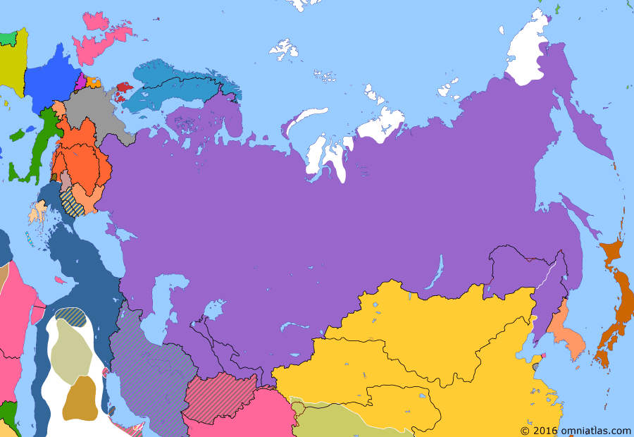 Political map of Russia & the former Soviet Union on 07 Feb 1904 (Late Tsarist Russia: Outbreak of the Russo-Japanese War), showing the following events: Anglo-Japanese Alliance; Battle of Port Arthur.
