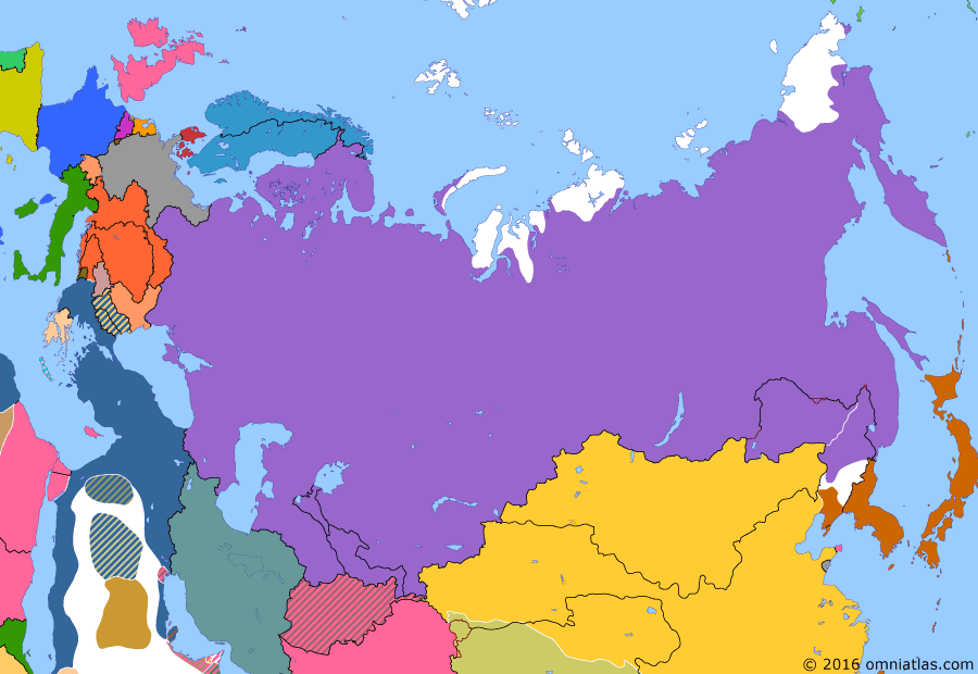Political map of Russia & the former Soviet Union on 27 May 1905 (Late Tsarist Russia: Battle of Tsushima), showing the following events: Free Japanese Brigade; Siege of Port Arthur; Dogger Bank Incident; Battle of Tsushima.