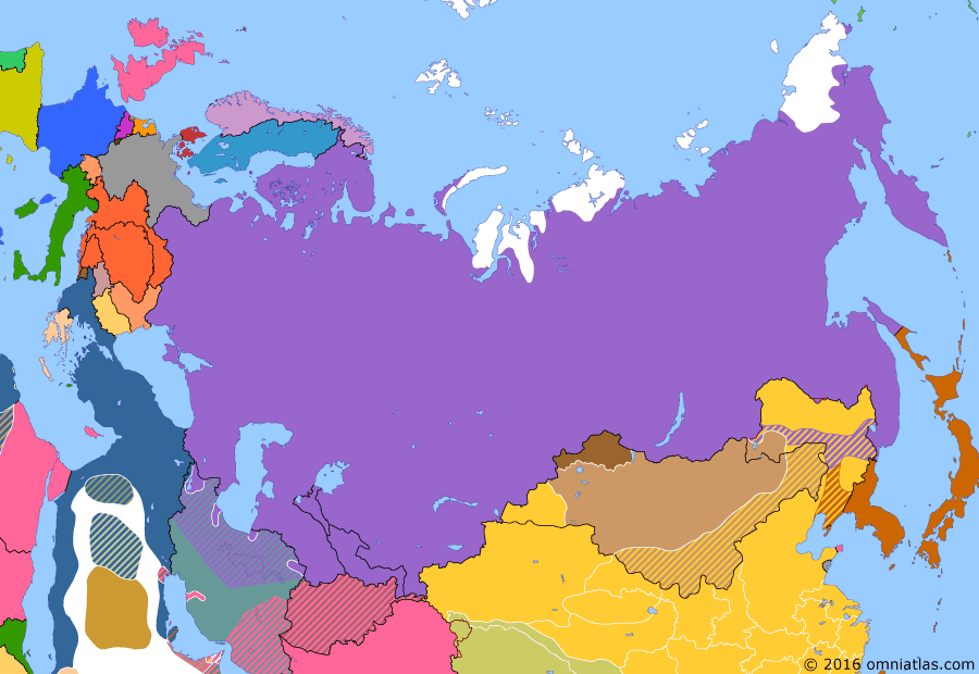 Political map of Russia & the former Soviet Union on 01 Sep 1912 (Late Tsarist Russia: Chinese Revolution), showing the following events: Anglo-Russian Entente; Mongolian Revolution; Abdication of Puyi; End of Qing rule in Tuva.