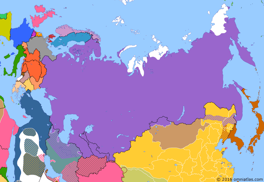 Political map of Russia & the former Soviet Union on 03 Aug 1914 (The Great War and the Revolution: Outbreak of the Great War), showing the following events: Balkan Wars; Assassination of Franz Ferdinand; Outbreak of World War I; German declaration of war on Russia; German invasion of Belgium.