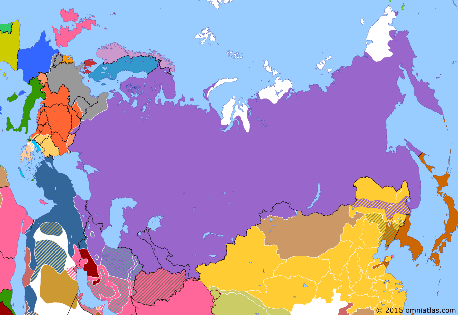 Political map of Russia & the former Soviet Union 8 March 1917 (February Revolution): By February 1917 (according to the old style Julian calendar still in use in Russia), the Tsarist system was on the brink of collapse. Russia's troops were demoralized, its economy was crumbling, and discontent was everywhere. On 8 March (23 February old style) (February revolution), riots broke out in Petrograd, the capital, and within two days the city had been almost completely closed down. Tsar Nicholas II's attempts to end the disorder simply resulted in troop mutinies and the disintegration of the police force. On the 15th, the Tsar abdicated and the Provisional Government (Russian Provisional Government) of Prince George Lvov, Paul Milivkov and Alexander Kerensky took over.