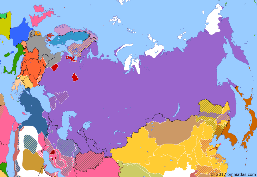 Political map of Russia & the former Soviet Union on 07 Nov 1917 (The Great War and the Revolution: October Revolution), showing the following events: US declaration of war on Germany; Russian Republic; October Revolution.