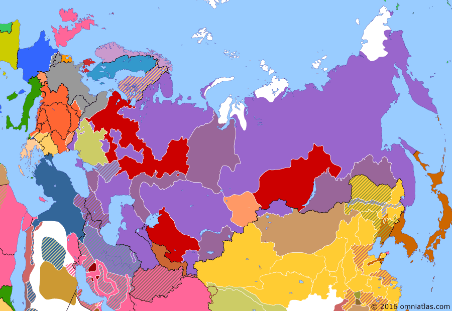 Political map of Russia & the former Soviet Union on 01 Dec 1917 (The Great War and the Revolution: Bolsheviks Gain Control), showing the following events: Kerensky-Krasnov uprising; Transcaucasian Commissariat; Bolsheviks capture Moscow; Ukrainian People's Republic.