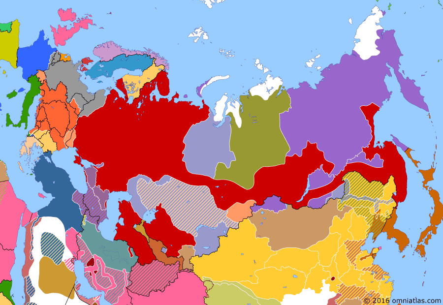 Political map of Russia & the former Soviet Union on 01 Feb 1918 (The Great War and the Revolution: Bolshevik Russia), showing the following events: Finnish Declaration of Independence; Brest-Litovsk Armistice; Creation of the Volunteer Army officially announced in opposition to the Bolsheviks; Battle of Kämärä; Russian Soviet Federative Socialist Republic.