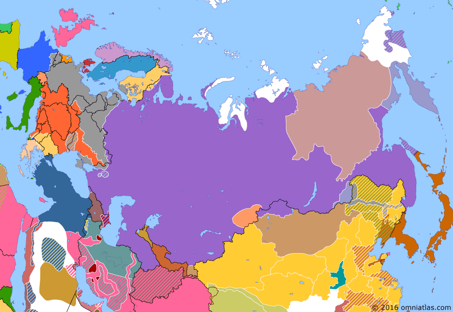 Political map of Russia & the former Soviet Union on 01 May 1918 (The Great War and the Revolution: Treaty of Brest-Litovsk), showing the following events: Government of Yakutia declares independence; Renewed German offensive on Russian front; Treaty of Brest-Litovsk; Moscow replaces Petrograd as capital of Russia; Germans take Helsingfors (Helsinki) from Red Finns.
