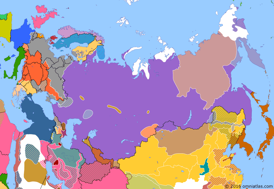 Political map of Russia & the former Soviet Union on 31 May 1918 (The Great War and the Revolution: Czechoslovak Legion), showing the following events: Murmansk landing; Revolt of the Czechoslovak Legion; Independence of Georgia.
