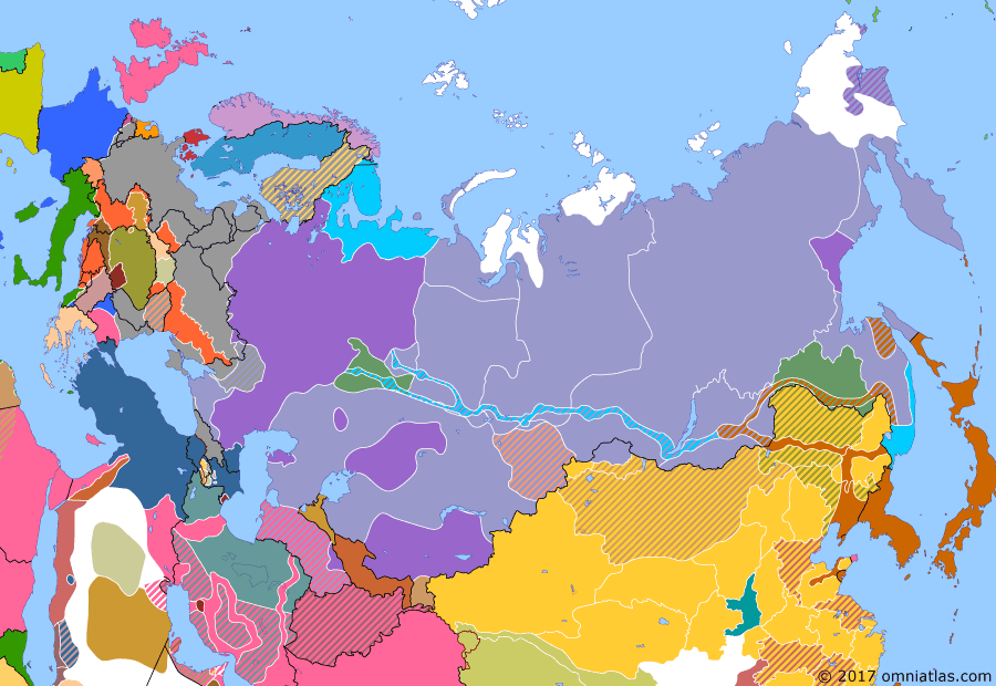 Political map of Russia & the former Soviet Union on 01 Nov 1918 (The Russian Civil War: The White Phase: End of the Great War), showing the following events: Mongolia asks for Chinese military support; Provisional All-Russian Government declared in Ufa; Armistice of Mudros; Armistice of Compiègne.