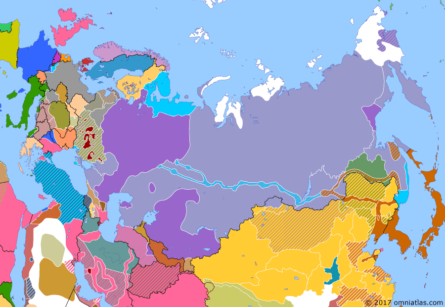 Political map of Russia & the former Soviet Union 1 December 1918 (Kolchak's All-Russian Government): In September, the anti-Soviet forces had attempted to unite under the Provisional All-Russian Government (Provisional All-Russian Government) (PA-RG). This attempt failed due to conflict between the left-wing Social Revolutionaries (Socialist-Revolutionary Party) and the right-wing Whites (White movement). On November 18, the Whites overthrew the PA-RG. The Minister of War, Admiral Kolchak (Aleksandr Kolchak), became Supreme Ruler. Kolchak's military dictatorship would prove to be stronger and more ruthless than the old PA-RG. However, he still depended a great deal on the Allies (Allied intervention in the Russian Civil War) and never completely controlled the many Russian factions.
