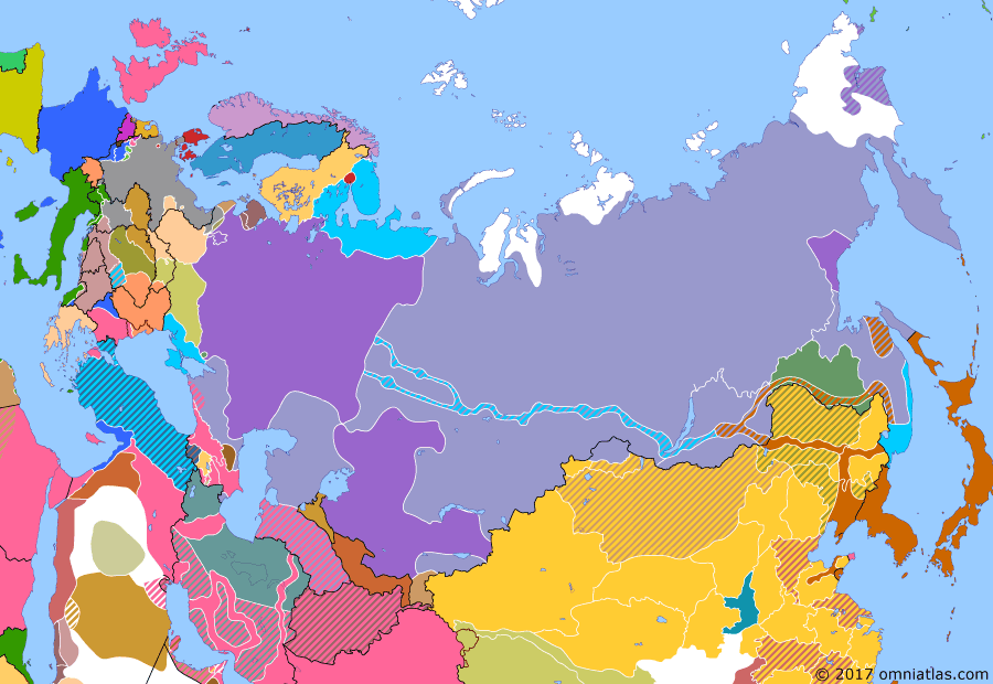 Political map of Russia & the former Soviet Union on 03 Feb 1919 (The Russian Civil War: The White Phase: Soviet Russian Counter-Offensives), showing the following events: Soviets take Vilnius from Lithuania; Denikin unites Volunteer Army with Don Army to form Armed Forces of Southern Russia; Ukraine at war with Soviet Russia; Soviets defeat Allies at Shenkursk; Soviet Russia takes Orenburg from Whites.