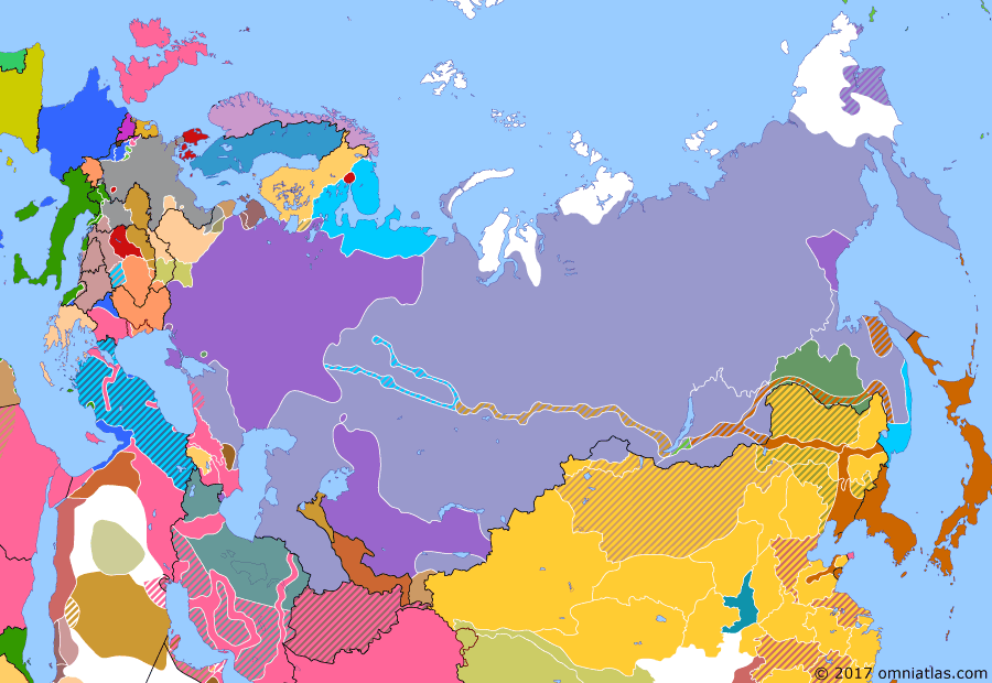 Political map of Russia & the former Soviet Union on 30 Apr 1919 (The Russian Civil War: The White Phase: Revolution in Europe), showing the following events: German Revolution; Bolsheviks take Kiev; British withdrawal from Transcaspian region; Hungarian Soviet Republic.