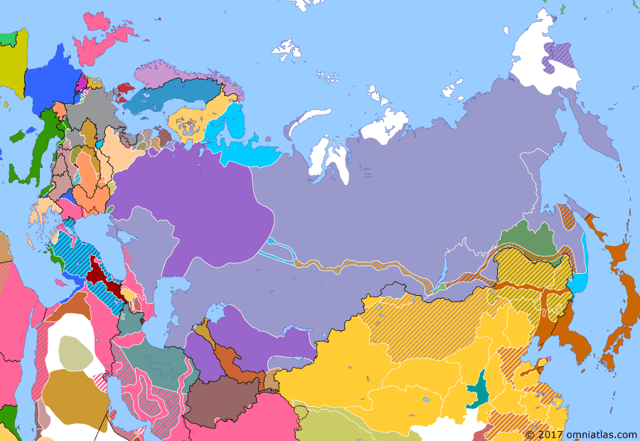Political map of Russia & the former Soviet Union on 01 Aug 1919 (The Russian Civil War: The White Phase: Denikin and Yudenich Attack), showing the following events: White forces under Wrangel capture Tsaritsyn from the Bolsheviks; Treaty of Versailles; Soviet forces take Yekaterinburg from All Russian Government; Erzurum Congress; Nikolai Yudenich creates Northwestern Government.