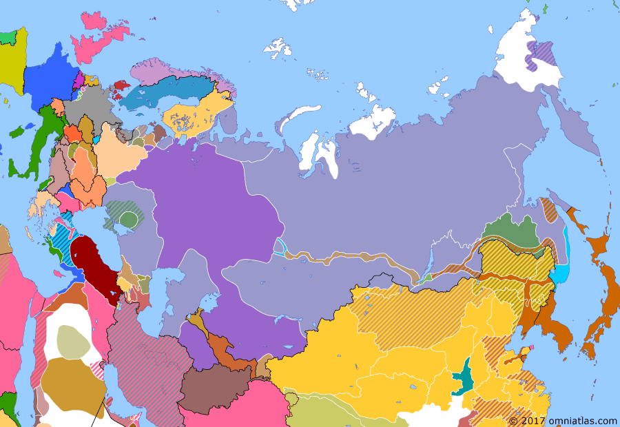 Political map of Russia & the former Soviet Union on 01 Nov 1919 (The Russian Civil War: The White Phase: Whites in Retreat), showing the following events: Soviets link Orenburg with Tashkent; Nestor Makhno's Black Army overthrows Whites in southern Ukraine; Evacuation of Murmansk; Nikolai Yudenich's offensive stalls outside Petrograd; Soviets defeat White advance on Moscow at Battle of Orel; Soviets capture Tobolsk.