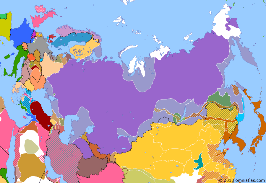 Political map of Russia & the former Soviet Union on 03 Jan 1920 (The Russian Civil War: The White Phase: End of Kolchak), showing the following events: Fall of Omsk; China revokes Mongolia's autonomy; Soviets seize power in Yakutsk; Soviets capture Kiev from Whites; Political Centre begins rising against Whites in Irkutsk.