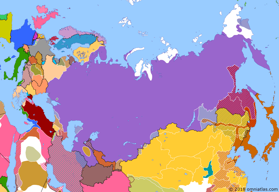 Political map of Russia & the former Soviet Union 3 April 1920 (Nikolayevsk Incident): In January and February, communist partisans and their supporters overthrew the whites across the Russian Far East. However, this was a region that had fallen under Japanese military influence during the Allied Intervention (Japan during the Siberian Intervention). Initially the outnumbered Japanese garrisons accepted the new situation, but soon tensions led to conflict. On March 12, Japanese troops in Nikolayevsk attempted a surprise attack (Nikolaevsk Incident). The attack failed and a general massacre of the Japanese (Nikolaevsk Incident) in the city ensued.