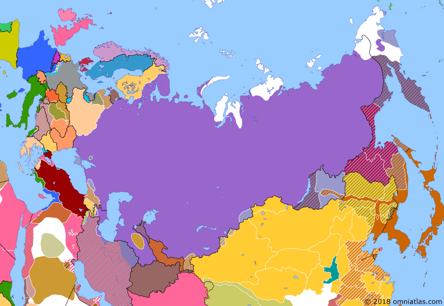"""Political map of Russia & the former Soviet Union on 19 May 1920 (The Russian Civil War: The White Phase: Creation of the Far Eastern Republic), showing the following events: Wrangel takes command of Armed Forces of Southern Russia, renaming them as """"Russian Army""""; Japanese offensive in Russian Far East; Far Eastern Republic; Polish-Soviet War starts; Azerbaijan Soviet Conciliar Republic; Soviets in Gilan."""
