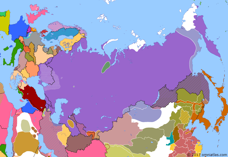 Political map of Russia & the former Soviet Union on 08 Jun 1921 (The Russian Civil War: The Green Phase: Von Sternberg in Mongolia), showing the following events: Ungern-Sternberg takes Urga, Mongolia; Socialist Conciliar Republic of Georgia; Okhotsk coast and eastern Yakutia revolt, reinforced by White general Bochkaryov; Kronstadt Rebellion; Treaty of Moscow; Peace of Riga; Ukrainian Socialist Conciliar Republic established; Byelorussian Soviet Socialist Republic established.