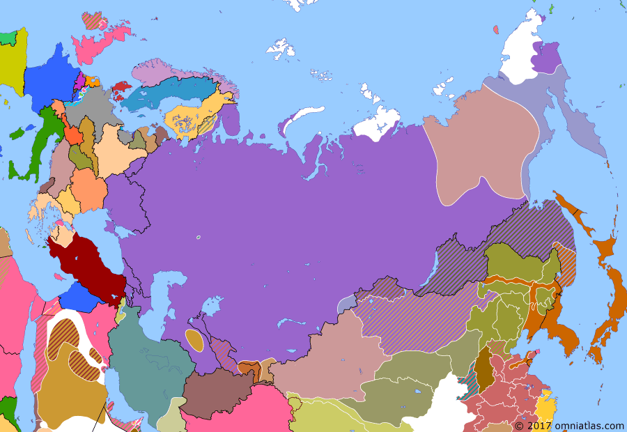 Political map of Russia & the former Soviet Union on 09 Jan 1922 (The Russian Civil War: The Green Phase: Communist Tuva and Mongolia), showing the following events: Forest partisans appear on Finnish border in Soviet Karelia; Outer Mongolian Revolution of 1921; Yakut revolt breaks out; People's Republic of Tuva established; End of the Persian Socialist Soviet Republic; Wrangel Island fiasco; Bochkaryov takes Petropavlovsk, Kamchatka.
