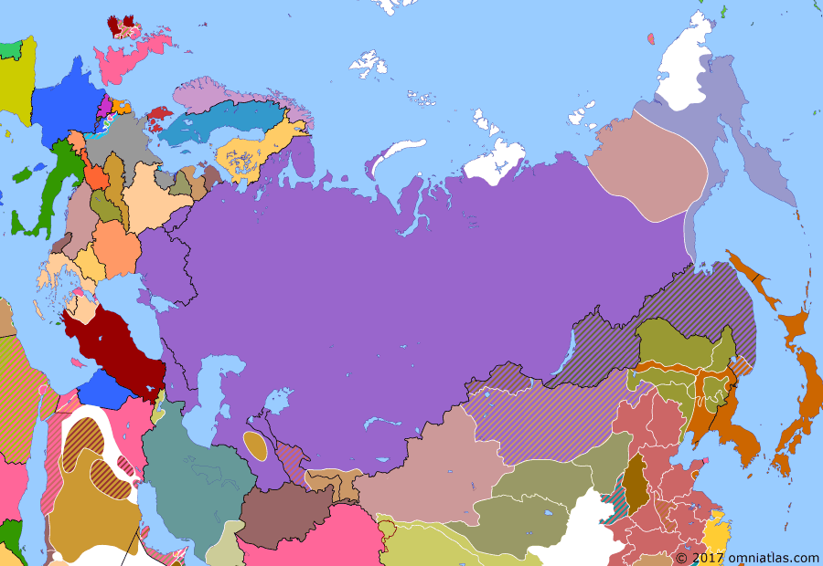 Political map of Russia & the former Soviet Union on 01 Jul 1922 (The Russian Civil War: The Green Phase: Japanese Withdrawal), showing the following events: Soviet Russia crushes forest partisans in Eastern Karelia; Federative Union of Socialist Soviet Republics of Transcaucasia; Basmachi and Bukharans united under Enver Pasha; Japanese announce they will withdraw from Primorye (Russian Far East) by end of October; Aleksandr Antonov, leader of Tambov rebellion, killed in Soviet ambush; Bochkaryov takes Anadyr from the Soviets.