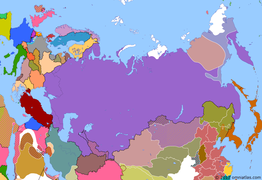 Political map of Russia & the former Soviet Union on 30 Dec 1922 (The Russian Civil War: The Green Phase: Creation of the Soviet Union), showing the following events: Defeat of the Basmachi movement; Japanese troops withdraw from Vladivostok.; Soviet Russia annexes Far Eastern Republic.; Treaty on the Creation of the USSR.