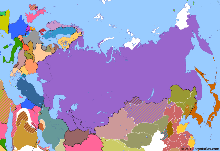 Political map of Russia & the former Soviet Union on 21 Jan 1924 (The Russian Civil War: The Green Phase: Death of Lenin), showing the following events: Soviets crush Yakut revolt; Soviet forces defeat Bochkaryov north of the Gulf of Okhotsk; Soviet resolution on Bukhara; Wells settlement on Wrangel Island; Death of Lenin.