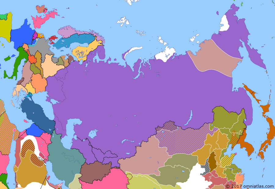 Political map of Russia & the former Soviet Union on 20 Jan 1925 (The Russian Civil War: The Green Phase: Soviet-Japanese Peace Treaty), showing the following events: Yakut-Tungus revolt leads to creation of All-Tungus Congress of Okhotsk Coast; Soviet arrival in Wrangel Island; Turkmen Soviet Socialist Republic; Uzbek Soviet Socialist Republic; Soviet-Japanese Peace Treaty.