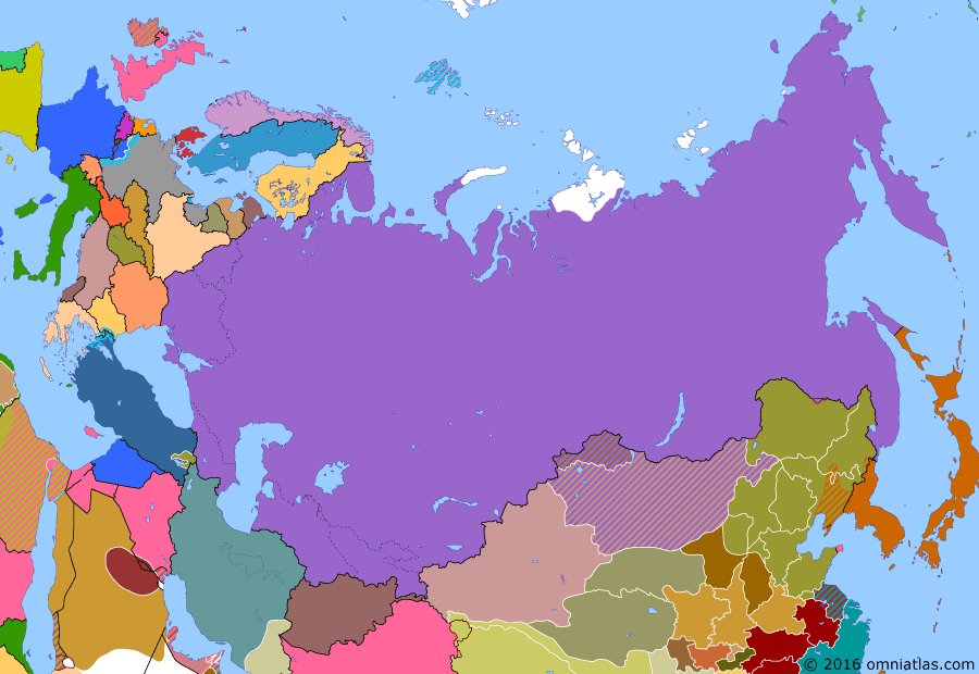Political map of Russia & the former Soviet Union on 14 Nov 1927 (The Soviet Union under Stalin: Rise of Stalin), showing the following events: Joseph Stalin outmaneuvers his opposition to become leader of the Soviet Union; Japan evacuates north Sakhalin; Accession of Turkmen Soviet Socialist Republic; Accession of Uzbek Soviet Socialist Republic; Soviet Union suppresses All-Tungus Congress of the Okhotsk Coast; Soviet Union formally annexes Franz Josef Land.