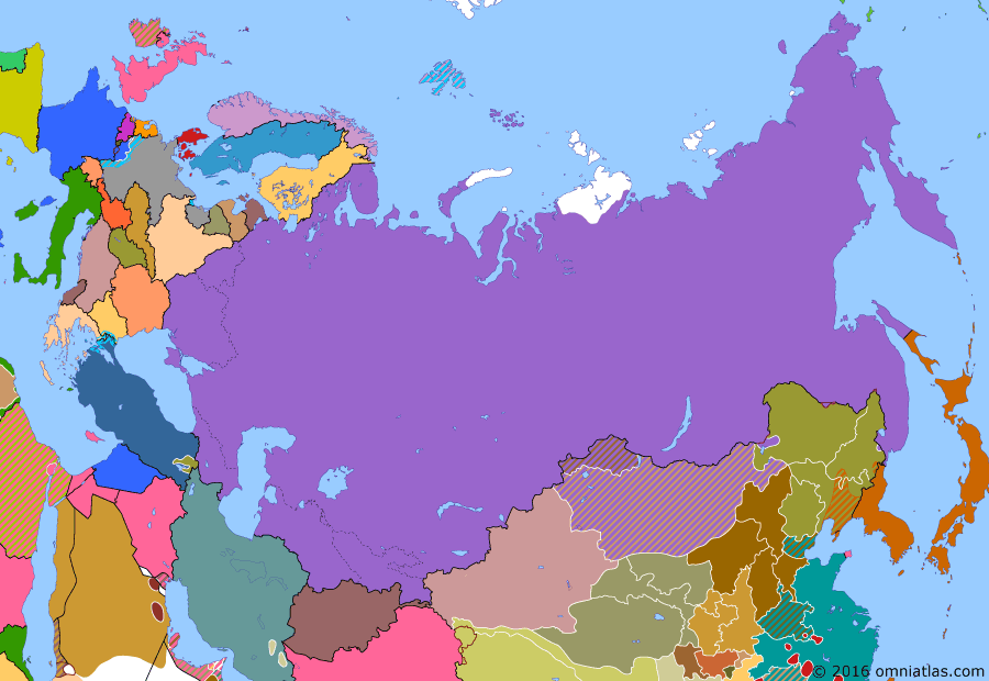 Political map of Russia & the former Soviet Union 20 November 1929 (1929 Sino-Soviet Conflict): By 1929, Chiang Kaishek's (Chiang Kai-shek) Nationalists (Kuomintang) were rapidly reunifying China (Northern Expedition). With Chiang's backing, the Manchurian warlord (Zhang Xueliang) seized the part-Soviet administered Chinese Eastern Railway (Chinese Eastern Railway). The Soviets responded with a two-pronged invasion, swiftly forcing the Manchurians to come to terms (Sino-Soviet conflict (1929)) and demonstrating China's continued weakness.